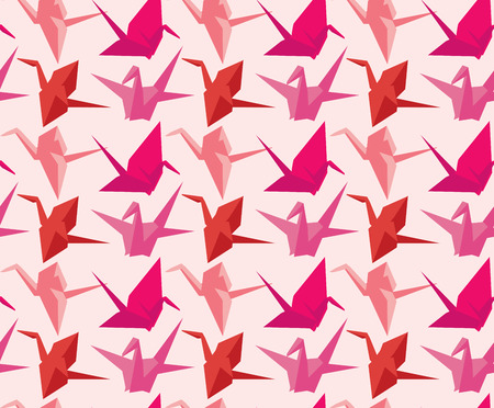 crane origami: Japanese paper cranes seamless pattern Illustration