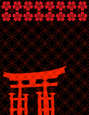 Traditional Japanese pattern background with red temple gate and cherry blossom flowers