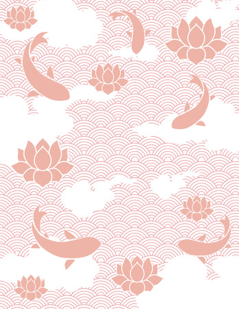 Traditional pink Japanese fish pond background Ilustracja