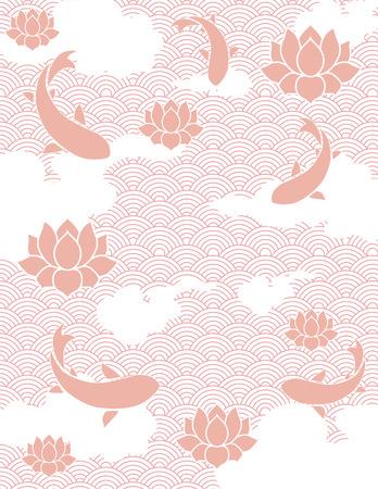 fish pond: Traditional pink Japanese fish pond background Illustration