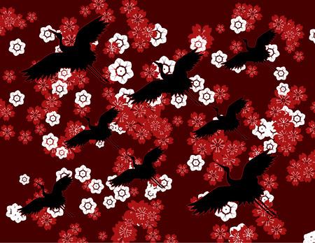 japanese garden: Traditional Japanese sakura cherry blossom and flying cranes background design