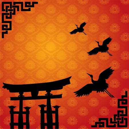 japanese temple: Traditional Asian lotus pattern wallpaper with Japanese temple gate and flying cranes Illustration
