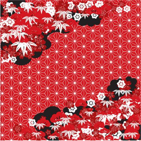 伝統的な日本の背景を赤
