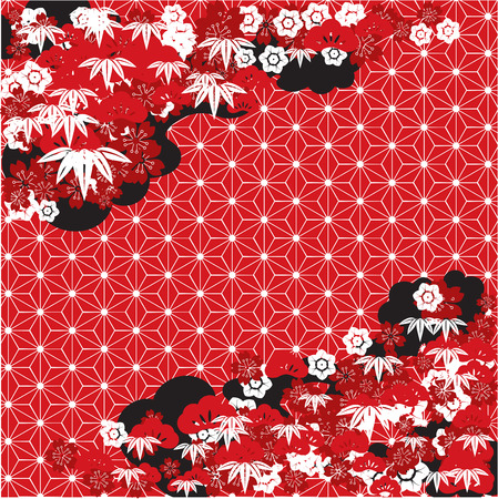 Red traditional Japanese background Vector