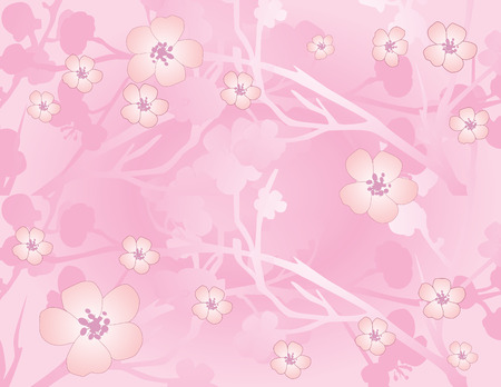 Asian traditional pink cherry blossom background