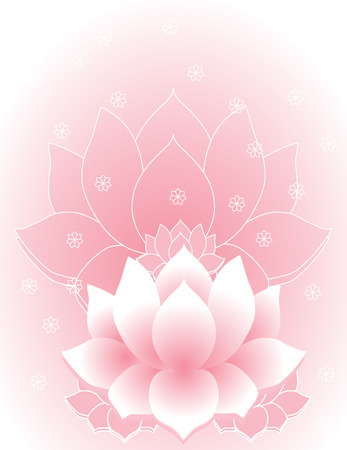 flower age: Pink traditional Asian lotus background Illustration