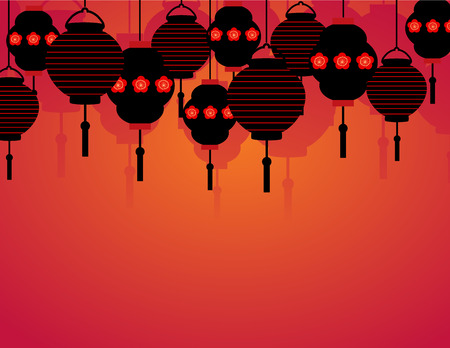 Asian lanterns border background with space for text Ilustração
