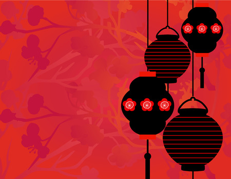 Asian lanterns border background with space for text Illustration