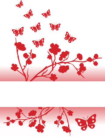 Asian traditional pink cherry blossom and butterfly background with space for text