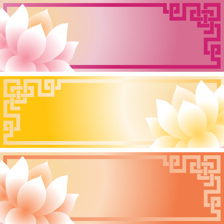 Set of colorful traditional Asian lotus banners with space for text Ilustração
