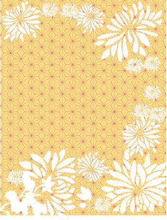 Asian chrysanthemum flowers on yellow traditional Japanese pattern