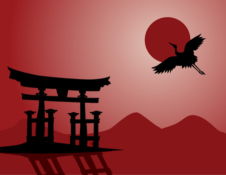 japanese temple: Traditional Japanese mountain landscape with temple gate and flying crane Illustration