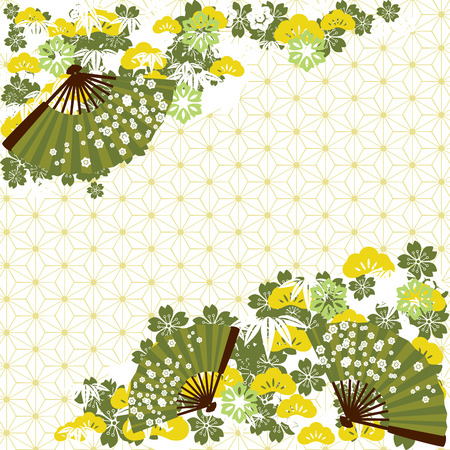 Green traditional Japanese background Vector