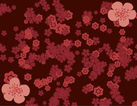 Traditional Asian cherry blossom pattern wallpaper Stock Illustratie