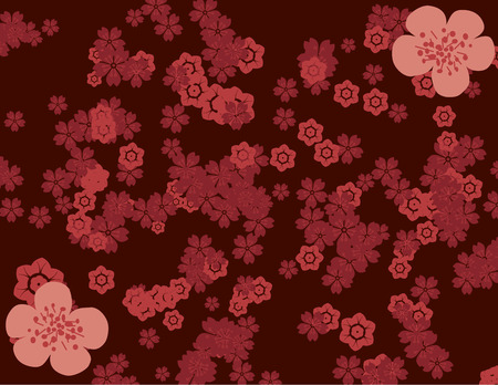 Traditional Asian cherry blossom pattern wallpaper Illustration