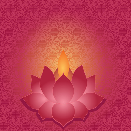 flower age: Traditional Asian pattern background with lotus shaped lamp