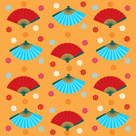 Traditional Asian fan and cherry blossom colorful seamless pattern