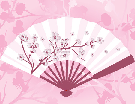 Pink Asian fan with sakura cherry blossom pattern and background