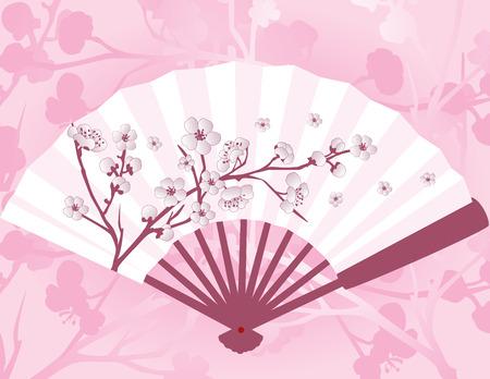 Roze Aziatische ventilator met sakura kersenbloesem patroon en achtergrond Stock Illustratie