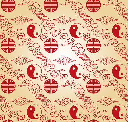 clouds: Traditional Chinese elements seamless wallpaper with clouds and yin yang symbol