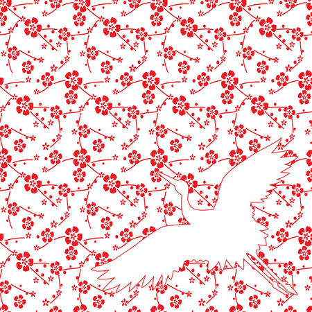 Japanese cherry blossom pattern background with flying crane