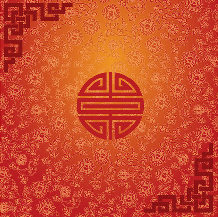 chinese new year card: Chinese traditional red and gold background with decorative elements