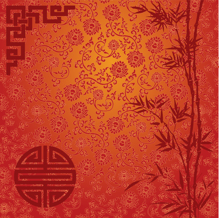 oriental background: Chinese traditional red and gold background with bamboo border