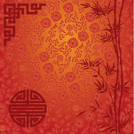 flores chinas: Fondo rojo y oro tradicional china con la frontera de bamb�