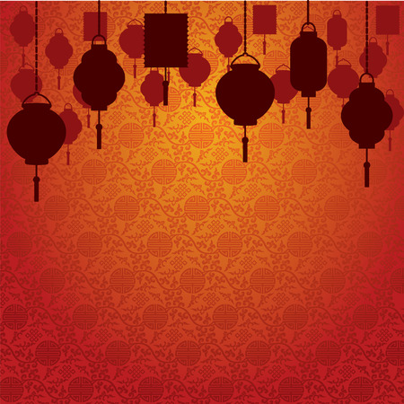 Chinese lanterns on traditional wallpaper background Illustration