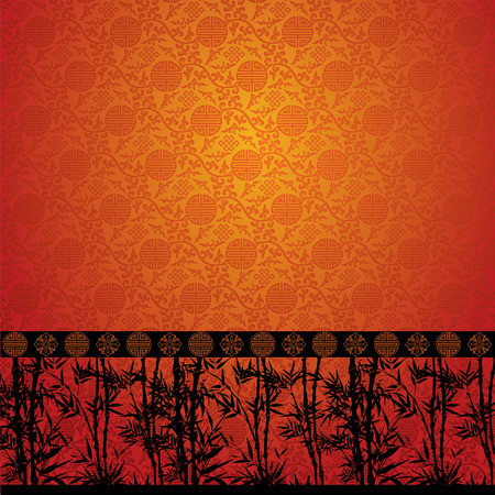 Bamboo pattern on traditional Chinese pattern wallpaper  イラスト・ベクター素材