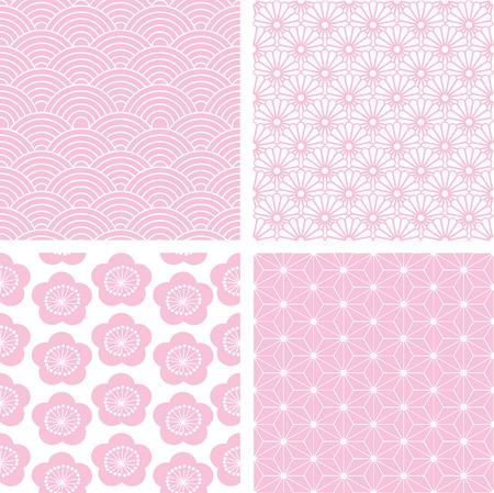 Set of 4 traditional pink Japanese seamless patterns