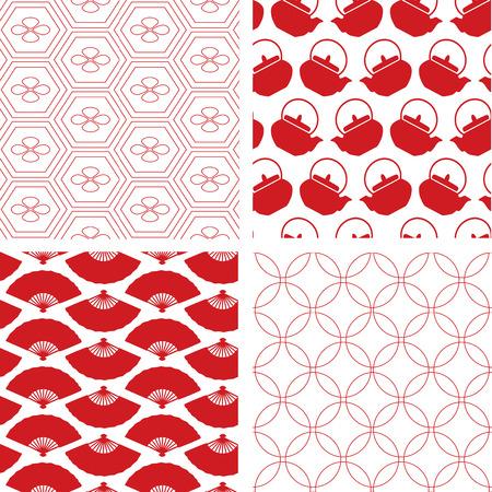 4 붉은 전통적인 원활한 일본어 패턴의 집합 일러스트