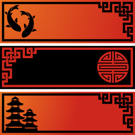 fish pond: Set of 3 Asian black and red banners Illustration
