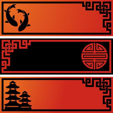 Set van 3 Aziatische zwarte en rode banners