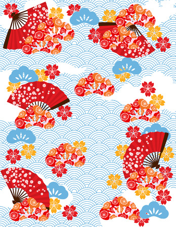 Japanese background with wave pattern and fans