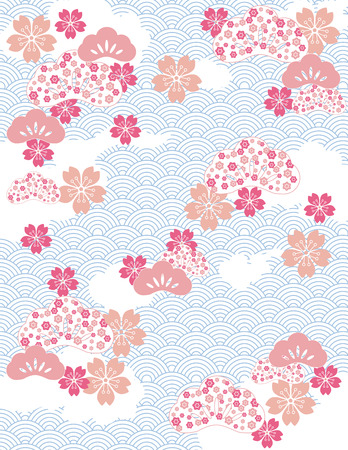 Japanese background with wave pattern and cherry blossom flowers