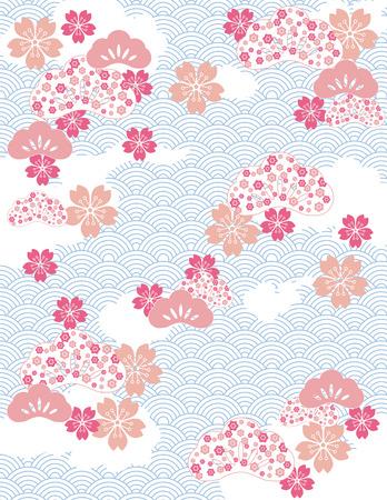 fleur cerisier: Fond japonais avec motif de vagues et de fleurs de fleurs de cerisier