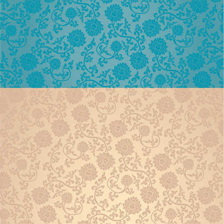 Vintage blue and cream classical oriental lotus pattern background with horizontal banner