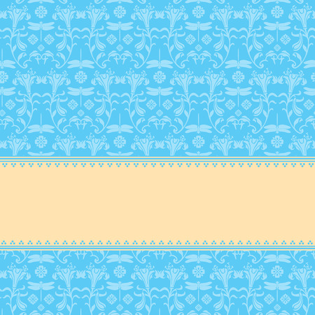 japanese motif: Vintage blue and cream classical flower and dragonfly kimono pattern background with horizontal banner for text