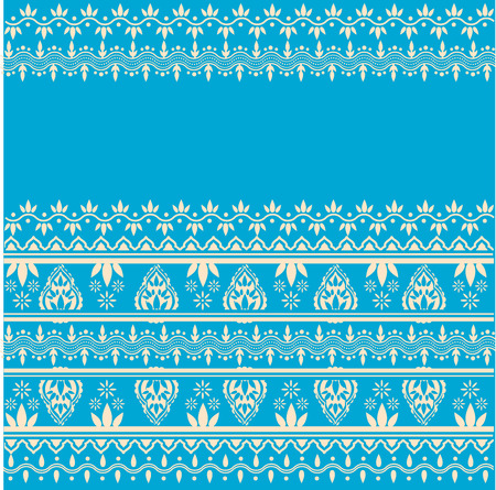 Traditional Asian henna white border design on blue background with space for text