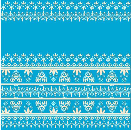 Traditionele Aziatische henna witte rand ontwerp op een blauwe achtergrond met ruimte voor tekst