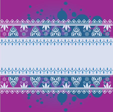 Traditional Asian henna border design on grunge background with horizontal banner and space for text Фото со стока - 35447358