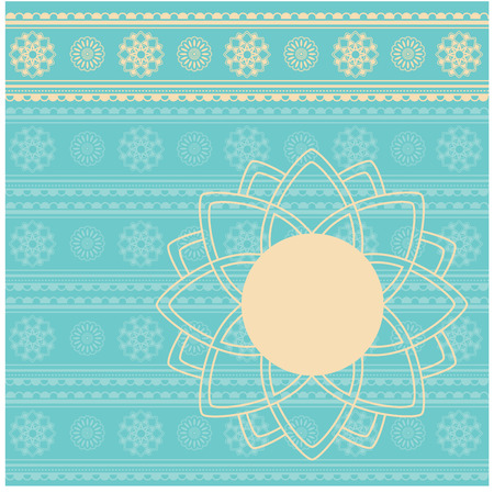 saree: Traditional turquoise and cream Indian henna pattern with round lotus banner for text