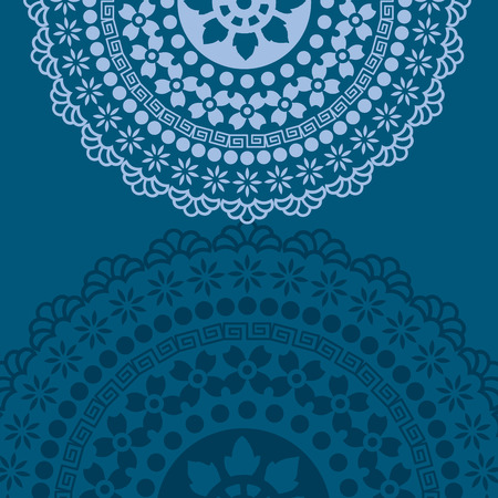 rangoli: Traditional floral oriental mandala design blue background with space for text