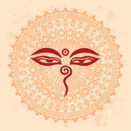 Diseño de la mandala oriental tradicional con los ojos de Buda