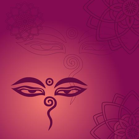 Traditional Buddha eyes symbol on purple background with henna mandalas