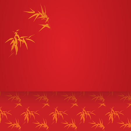 lucky bamboo: Traditional Chinese red and gold bamboo horizontal banner with space for text
