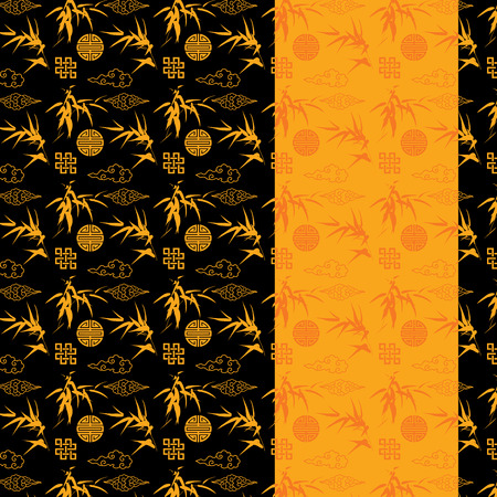 Chinese black and gold bamboo and clouds pattern with vertical banner for text Ilustração