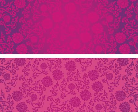 텍스트에 대 한 공간을 가진 빈티지 핑크 고전적인 동양 로터스 패턴 가로 배너 일러스트