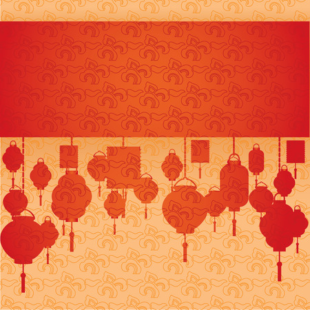 Vintage red and cream classical oriental cloud pattern horizontal banner with hanging lanterns and space for text